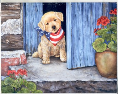 PRINT #67:  PATRIOTIC PUPPY W/ STARS & STRIPES KERCHIEF AT THE DOOR 2002 8 X 10 MINT