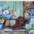 2002 PRINT #66:  PUPPY WITH WATERING CAN   SIGNED JANE MADAY  MINT