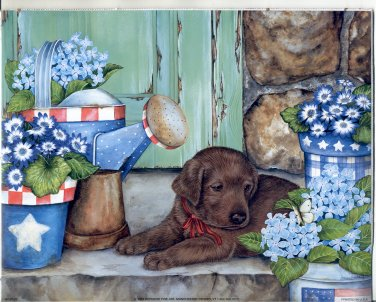 PRINT #66: PUPPY WITH WATERING CAN 8 X 10 MINT 2002