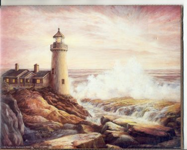 2002 PRINT #50: LIGHTHOUSE ON THE ROCKS 8 X 10 NEAR MINT