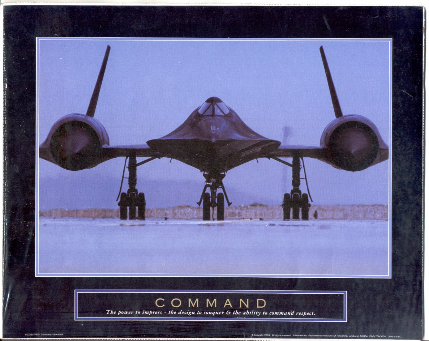 "2003 PRINT #16A: MILITARY STEALTH AIRPLANE: COMMAND ""BLACKBIRD"" MINT"