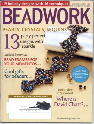 BEADWORK MAGAZINE W/ 19 PROJECTS BACK ISSUE CRAFTS MAGAZINE DEC 2009 / JAN 2010 NEAR MINT