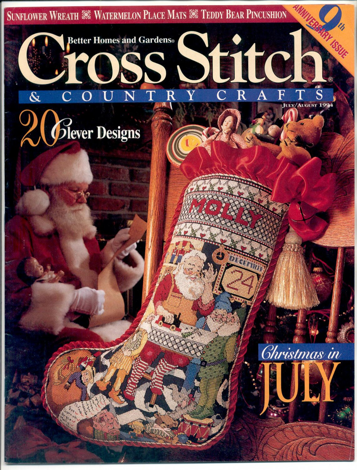 Cross stitch country crafts magazine back issues - Cross Stitch Country Crafts Back Issue Magazine July August 1994 Mint