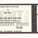 MSU MISSISSIPPI STATE vs OLE MISS FOOTBALL TICKET STUB 11/28/2013 BULLDOGS # D13