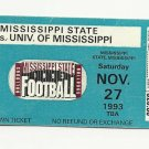 1993 MSU MISSISSIPPI STATE VS OLE MISS FOOTBALL TICKET STUB 11/27/1993 # D19