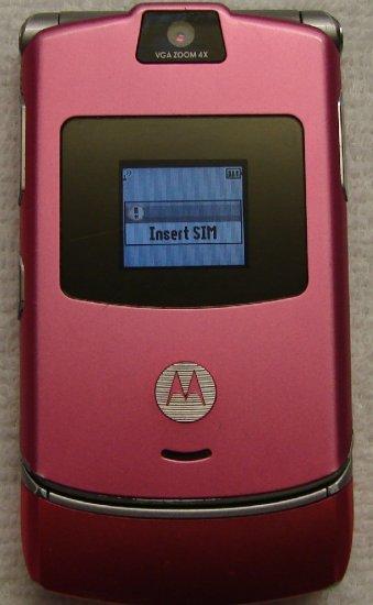 Used AT&T T-mobile Motorola RAZR V3 PINK