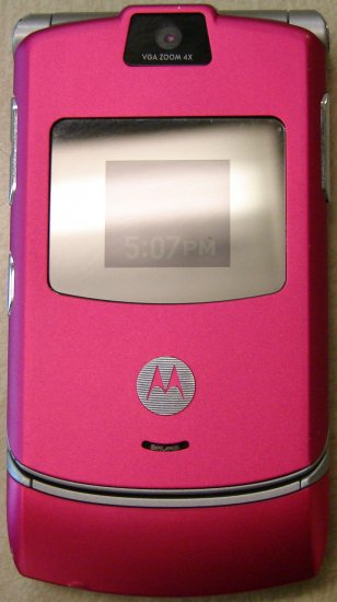 Used T-mobile Motorola RAZR V3 GSM Cell Phone Specical Edition Hot Pink (MAGENTA)