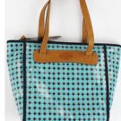 NWT FOSSIL KEY PER SHOPPER TOTE PURSE HANDBAG Light Blue Diamond Zb5896 Canvas