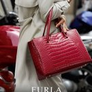 Furla Lotus Carryall Cabernet 754485 Embossed Leather Croc Satchel Red Italy Nwt