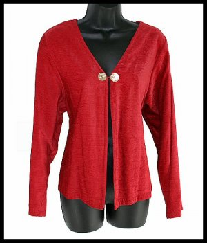 soft DAVID DART flyaway RED cardigan with abalone buttons size M MEDIUM