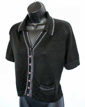 ANTHROPOLOGIE black LINEN knit thin CARDIGAN sweater M medium
