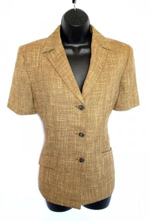 LE SUIT PETITE gold TWEED short sleeve BLAZER 8P 8 P