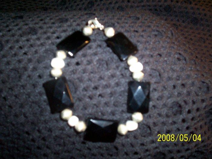 Black Onyx and Pearl Bracelet