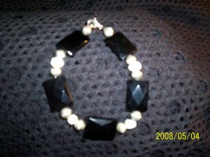 Black Onyx and Pearl Bracelet
