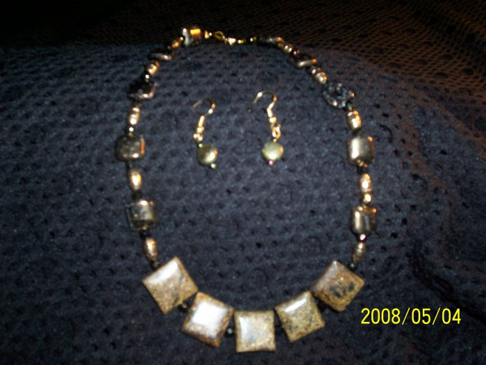 Bronzonite Necklace and Earrings