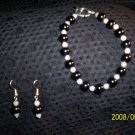 Onyx and Moonstone Bracelet and Earrings Sets