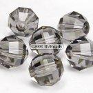 24 SWAROVSKI 5004 RECT FACET CRYSTAL BEADS 4MM BLACK DIAMOND