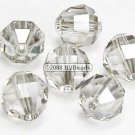 12 SWAROVSKI ELEMENTS 5004 RECT FACET CRYSTAL BEADS 8MM SILVER SHADE