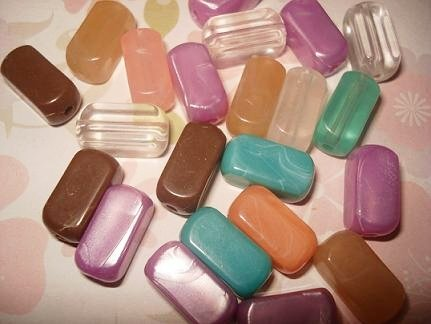 20pcs. Assorted Acrylic Rectangle Bead - 16mm