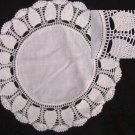 "Doily 10.5"" diameter linen fabric center hand crocheted edge"