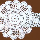 "Vintage doily hand crocheted 7"" circle white scalloped edge"