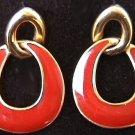 Avon earrings red enamel gold tone loops pierced stud ears jewelry