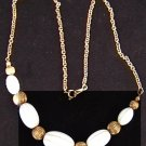 Avon necklace white & gold beads circa 1970 jewelry