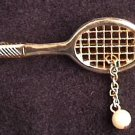 Avon pin ladies tennis racket faux pearl jewelry