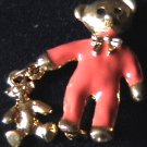 Avon pin teddy bear in PJs with teddy charm jewelry