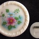 Avon pin ceramic cream colored flower center MIB c1980 jewelry