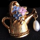 Avon watering can enamel flowers tack lapel pin jewelry