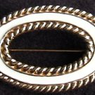 Monet white enamel gold tone oval pin brooch jewelry