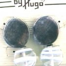 Hugo pierced earrings silver tone with clear/striped bead NEW