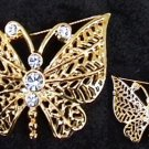 AAi pin signed butterfly with rhinestones gold tone