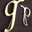 Pin initial G goldtone costume jewelry