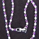Necklace purple & clear rhinestones V center