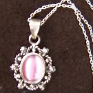 "Necklace sterling pink cabochon stone marcasites pendant 18"" silver chain jewelry"