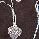 Sterling necklace rhinestone heart on chain delicate rhinestones jewelry