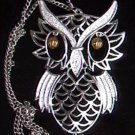 Necklace jointed owl Halloween brass eye silvertone 24""