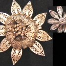 Lisner sunflower gold tone signed vintage pin jewelry brooch
