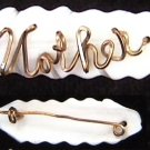 Mother of pearl gold wire vintage pin spells MOTHER