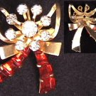 Vintage pin rhinestones & red crystal in a bow shape c1950's