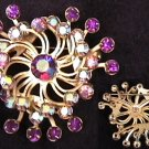 Vintage pin rhinestone swirl garnet & iridescent rhinestones