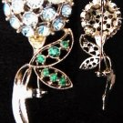 Rhinestone vintage pin blue cluster flower green rhinestones stem
