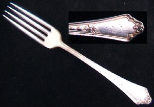 Gorham Shelburne silverplate fork monogram S 1914 mark GMCo