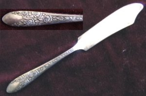 National silverplate Leaf &amp; Rose butter knife 1939 flatware silver plate