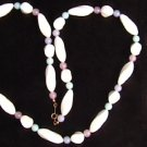 Avon necklace white pink aqua beads 30&quot; plastic beads jewelry