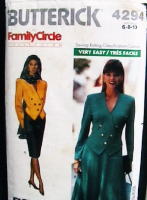 Butterick 4294 sewing pattern jacket top and skirt size 6 8 10 misses uncut