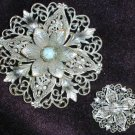 "Vintage pin pewter like scroll work flower center aqua turquoise stone 2 1/2"" diameter"