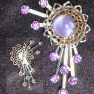 Vintage rhinestone flower pin purple center stone & rhinestones